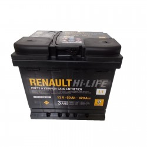 Renault gyári alkatrészek, Renault 7711238596 akkumulátor 50Ah / 420 A