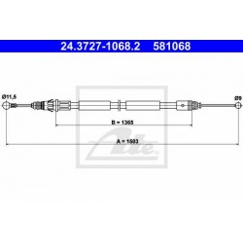 Renault alkatrészek, ATE 24.3727-1068.2 kézifék bowden